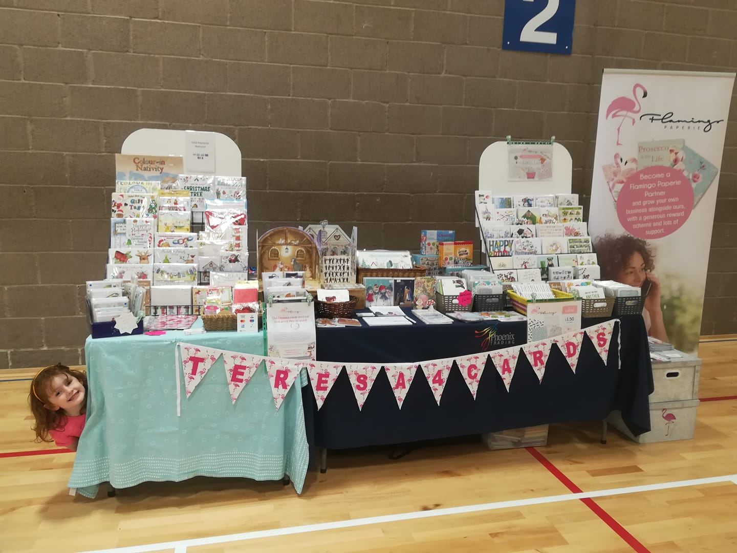 Flamingo Paperie with teresa4cards having a pop-up shop at a Christmas Fair