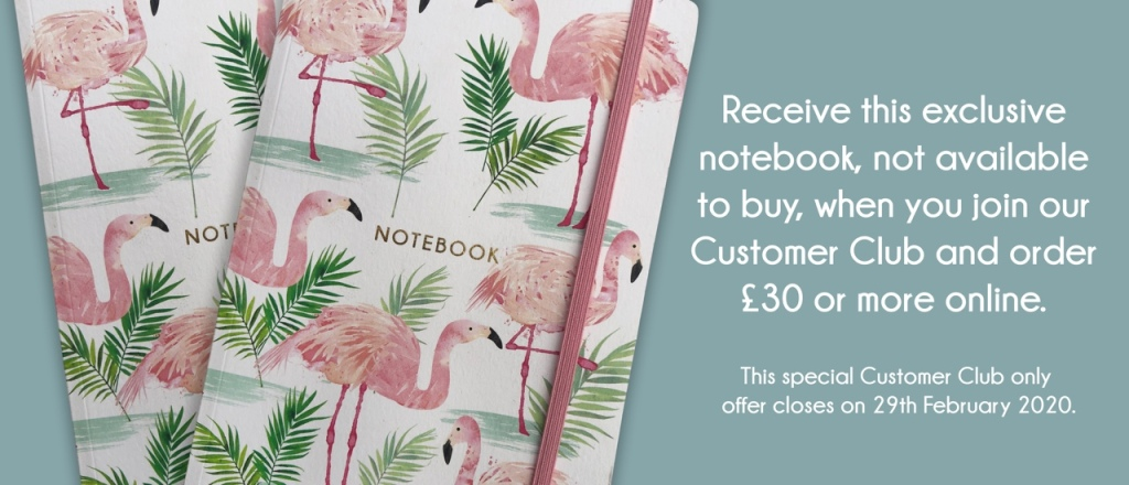 Flamingo paperie Customer Club February offer, FREE notebook with orders over £30.