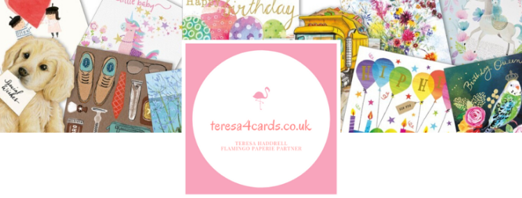 Flamingo Paperie with teresa4cards.co.uk logo. Beautiful greetings cards by Flamingo Paperie.
