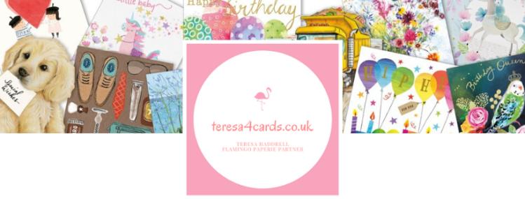 teresa4cards.co.uk logo. Flamingo Partner Teresa Haddrell