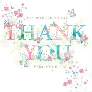 Just wanted to say thank you very much greetings card by Flamingo Paperie.